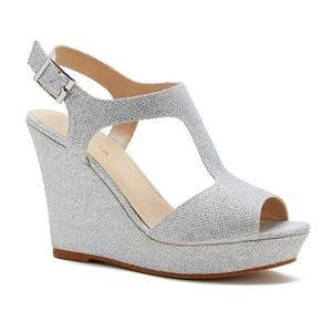 Rampage • Silver Glitter Wedge Sandals